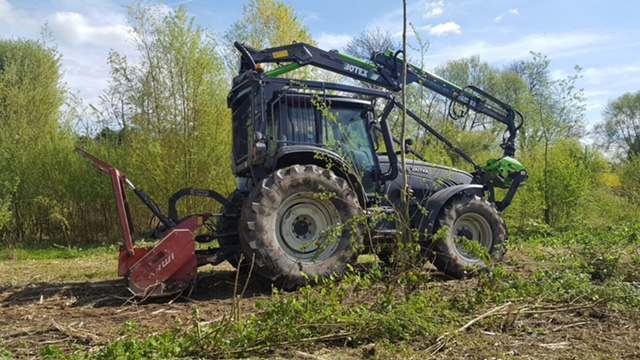 Forestry mulcher and Valtra at Betchworth
